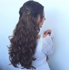 """Loving how the 20"""" 220g Chestnut Brown Luxy Hair extensions are styled in the perfect updo! Be sure to click for more details!"""