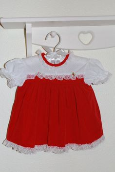 291505514346 Vintage baby dress.Red Velvet, Cutest One Dress size 12 Mo With bloomers