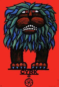 polish circus poster by hubert hilscher, 1967