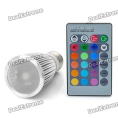 Color: Silver - Material: Aluminum alloy - LED number: 1 - Voltage: 85-265v - Power: 3W - Luminous flux: 160-180LM - Yellow light: 585-590nm - Red light: 635-650nm - Blue light: 465-470nm - Green light: 515-530nm - White light: 6000K - Purple light: 400-450nm - Remote control distance: 5m - Life span: 50000 hours - Comes with remote controller (1x CR2025 battery) http://j.mp/VH6PIv