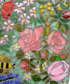 mosaic flowers + bee