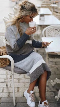 - Sweater Fashion - Love this gray and white striped sweater dress. Love this gray and white striped sweater dress. Fall Outfits For Work, Winter Outfits, Casual Outfits, Preppy Dresses, Women's Dresses, Look Fashion, Fashion Outfits, Womens Fashion, Fashion Tips