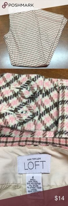 LOFT Wool Pants Wide Leg LOFT Wool Pants Wide Leg. Fully lined. Size 4. Pink, Brown, Black. LOFT Pants Wide Leg