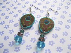 Peacock Feathers Polymer Clay Earrings £5.00