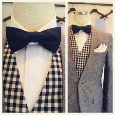 suit:ブルーコットンリネン shirt:パープルクレリック bowtie:ネイビーコットンサテン
