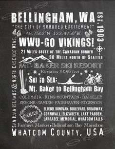 SUBWAY ART - BELLINGHAM, Washington | City of Subdued Excitement Chalkboard Background | 8x10 and 11x14