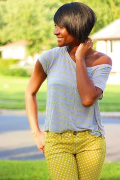 The Daileigh: Polka Dots & Stripes  |  love the hairstyle too!