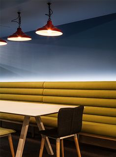 Nulty - Berghaus HQ, Sunderland - Meeting Area Colourful Seating Feature Pendants Lighting