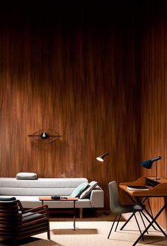 Inspired by Mad Men / Anna Aromaa, Glorian Koti, photo Tuomas Kolehmainen. Mad Men, Earthy, Conference Room, Anna, Inspired, Colors, Brown, Wood, Interior