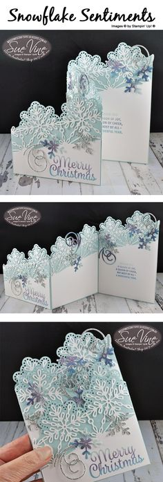 z-Fold card using SU Snowflake Sentiments by Sue Vine