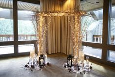 Indoor wedding natural ceremony  arch. Resort at The Mountain. Welch's Oregon Www.afloralaffair.com