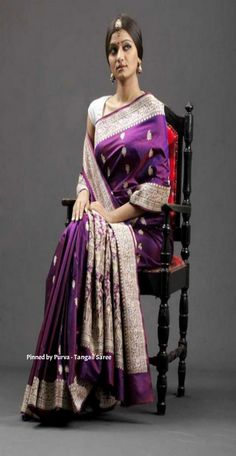 ❀Purva❀ - Purple & Gold Silk Saree - Tangail Sarees