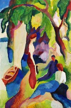 August Macke - Samen met Marc en Wassily Kandinsky richtte hij in 1911 kunstenaarsgroep 'der Blaue Reiter' op. Maar in tegenstelling tot Marc en Kandinksy was Macke minder geinteresseerd in de mystieke kant van de beweging.