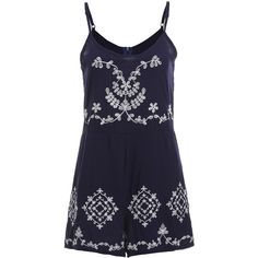 Navy Spaghetti Strap Embroidered Jumpsuit ($21) ❤ liked on Polyvore featuring jumpsuits