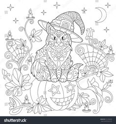 Halloween coloring page. Cat in a hat, halloween pumpkin, spider web, lanterns with candles, moon and stars. Freehand sketch drawing for adult antistress coloring book in zentangle style.