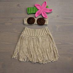 Crochet Hula Costume, Crocheted Baby Hat, Crochet Baby Hat, Crochet Set, Baby Shower Gift, Newborn Photography Prop, Baby Girl, Hula Set