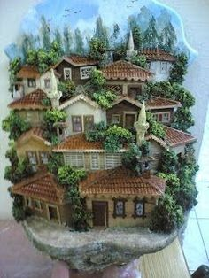 Box Frame Art, Shadow Box Frames, Clay Houses, Miniature Houses, Clay Wall Art, Biscuit, 3d Painting, Polymer Clay Art, Diy Clay