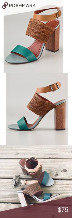 "Elizabeth and James ""Clair"" Sandals!! These leather colorblock sandals feature a woven strap at the vamp and a buckled strap at the ankle. Chunky wood heel. Leather sole. Like New!!   * Heel: 3.5"" (89 mm). * Leather: Cowhide. * Made in Brazil. Elizabeth and James Shoes"