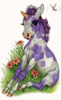 Lavender Painted Baby Unicorn by Robin James