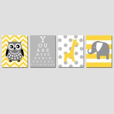 Nursery Art Quad - Set of Four 11x14 Prints - You Are My Sunshine Eye Chart and Animals - Owl, Elephant, Giraffe - Choose Your Colors. $78.00, via Etsy.