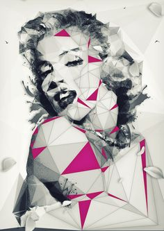 Saved by Inspirationde (inspirationde). Discover more of the best Illustration, Legend, Hollywood, Florian, and Ludwig inspiration on Designspiration Low Poly, Pop Art Pictures, Marilyn Monroe Pop Art, Polygon Art, Art Et Illustration, Creative Illustration, 3d Texture, Norma Jeane, Portraits