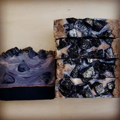 Black Amber & Lavender, with some embeds and a mica pencil line. #soapshare #bestseller #naturalskincare #natural #soap #soapmaking #smallbusiness #artisansoap #maine #mainemade #madeinmaine #mainenaturals
