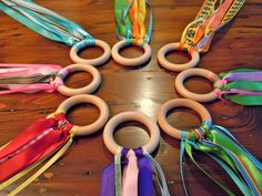 Rainbow Ribbon Rings for creative yoga play!
