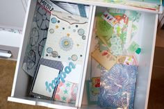 Embellishment drawers for two of my homemade kits: Left - for my boys' albums. Right - Philippines album.  For more on this go here: http://www.paperclipping.com/paperclipping-258-organization-for-making-and-using-kits/