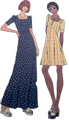 c923412c272b 1970s Sundress Maxi Dress knit Fit Flare Boho sewing pattern Butterick 3633  Size 12 Bust 34