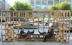 PARK(ing) Day is back. Turn parking spaces into public space--get a group together, apply, and on the date start the meter! Studios Architecture, Landscape Architecture, Architecture Diagrams, Architecture Portfolio, Urban Furniture, Street Furniture, Urban Intervention, Pocket Park, Urban Planning