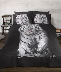 Urban Unique White Tiger Printed Duvet Cover Bedding Set (Twin Bed) (Black/White) – A Luxury Bed – Silk Sheets Bedspreads Luxury Bedding Double Duvet Covers, Single Duvet Cover, Bed Covers, Duvet Cover Sets, Bed Sets, Bed Linen Sets, Queen Bedding Sets, Comforter Sets, Pottery Barn