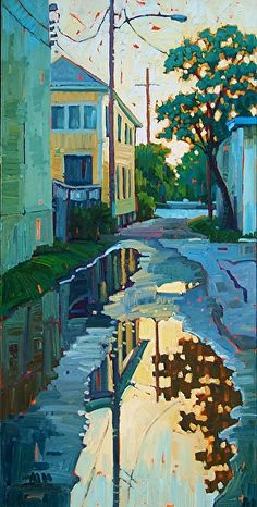 Reflections In The Alley, by René Wiley by Rene Wiley Gallery Oil ~ 36 x 18