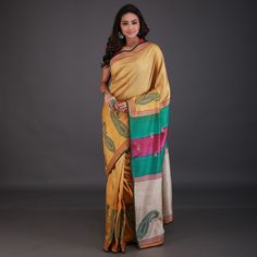 Flaunt a stunning look at parties with this Yellow Tussar Silk handloom saree. This saree is beautifully designed with hand embroidered detail and contrast border along the frills and border all over prints and embroidered detail. An unsticthed blouse is available. Note: The ornaments and blouse shown in the image are for presentation purpose only. Handloom Saree, No Frills, Sarees, Purpose, Contrast, Presentation, India, Note, Silk