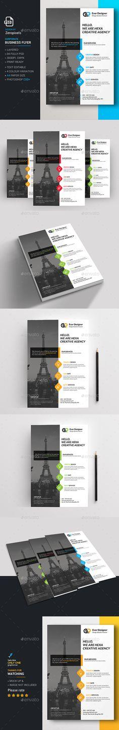 Corporate Flyer-Multipurpose 折页leaflet、单页、信封 Pinterest