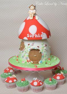 Fairy toadstool house cake - by Nivia @ CakesDecor.com - cake decorating website