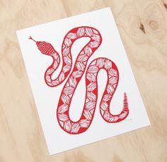 Turquoise or White Rattlesnake Original Linocut