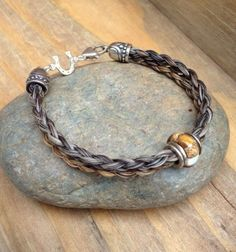 Braided Horsehair Bracelet with Navajo Tiger by SilverJaxDesigns