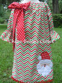 Girls Chevron Santa Peasant Dress Sizes 12m 18m 2T by juliesonny, $42.00