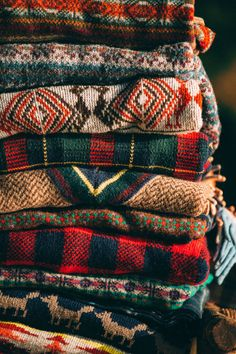 Stack of sweaters.