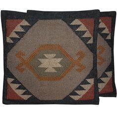 Herat Oriental Indo Handmade Wool & Jute Kilim Pillows (Set of Two) (Handmade Rustic Tribal Southwestern Kilim Pillow), Grey, Size 20 x 20