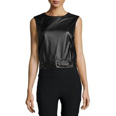 Nicole Miller Artelier Crewneck Sleeveless Belted Leather Crop Top ($420) ❤ liked on Polyvore featuring tops, black, belted top, leather crop top, crew neck tops, sleeveless tops and black leather top