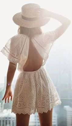 White Romantic 'broderie Anglaise' Open Back Romper by Friend In Fashion