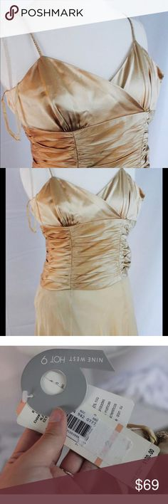 Nine West nwt Sleeveless party dress champagne Brand new with tags, champagne color, Sleeveless spaghetti strap dress. Hot 9 Nine West Dresses Prom