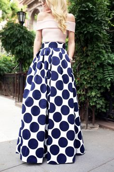 Off the shoulder blush top and large navy dotted maxi skirt <3