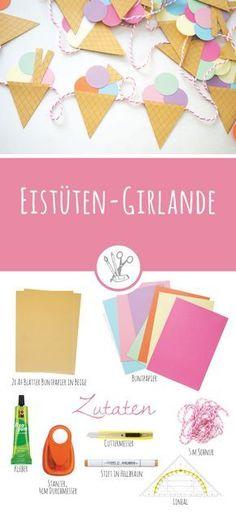 Eistüten-Girlande - gratis Vorlage und Anleitung - als Gastbeitrag bei Kleineherzensdiebe.com - super für eine Sommerparty oder einen Kindergeburtstag