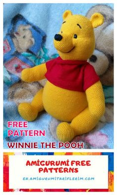 Winnie the Pooh Amigurumi Free Crochet Pattern - En.amigurumitariflerim.com Disney Crochet Patterns, Crochet Disney, Crochet Amigurumi Free Patterns, Free Crochet, Crochet Elephant Pattern Free, Winnie The Pooh, Art Japonais, Stuffed Toys Patterns, Mickey Mouse