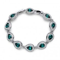 Designer Clothes, Shoes & Bags for Women Emerald, Chain, Shoe Bag, Bracelets, Silver, Stuff To Buy, Accessories, Shoes, Jewelry