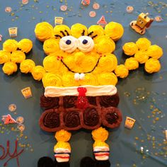 Spongebob birthday cake made out of cupcakes.