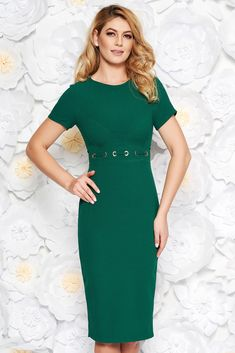2e7ca81fd83a StarShinerS darkgreen office midi pencil dress from non elastic fabric with  metal accessories, metal accessories