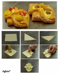 Tart with fruit Puff Pastry Appetizers, Puff Pastry Desserts, Puff Pastry Recipes, Bon Dessert, Dessert Recipes, Dessert Original, Baking Buns, Croissant Recipe, Pastry Design